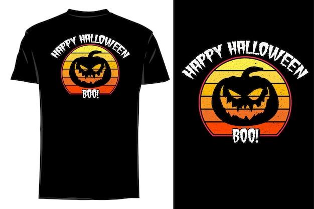 Mockup t-shirt silhouette felice halloween retrò vintage