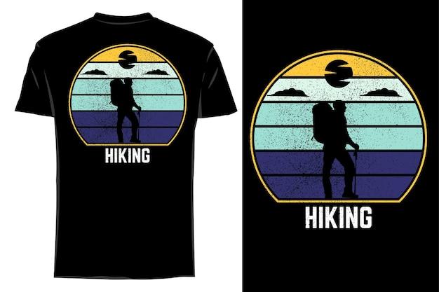 Mockup t-shirt silhouette escursionismo retrò vintage