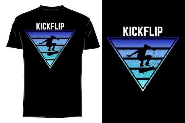 Mockup t-shirt silhouette kick flip retrò vintage