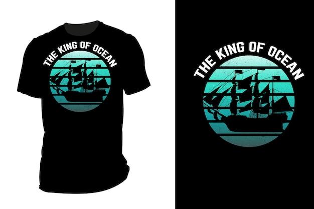 Mockup t-shirt silhouette il re dell'oceano retrò vintage