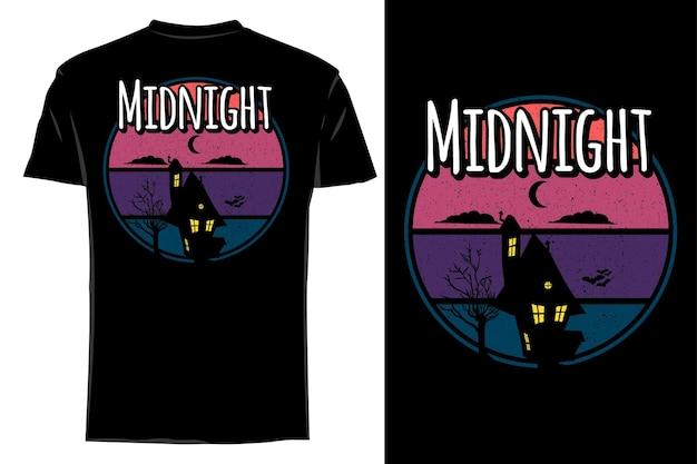 Mockup t-shirt silhouette mezzanotte retrò vintage