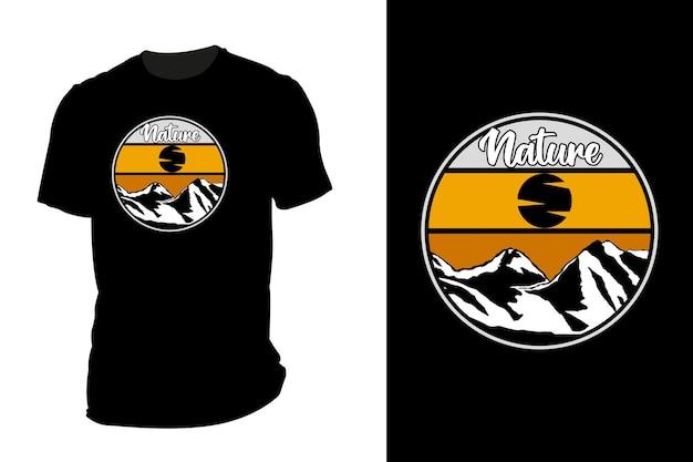 Mockup t-shirt silhouette natura montagna retrò vintage