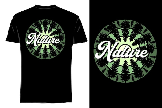 Mockup t-shirt silhouette natura retrò vintage