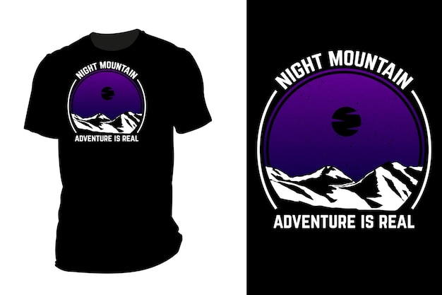 Mockup t-shirt silhouette notte montagna retrò vintage