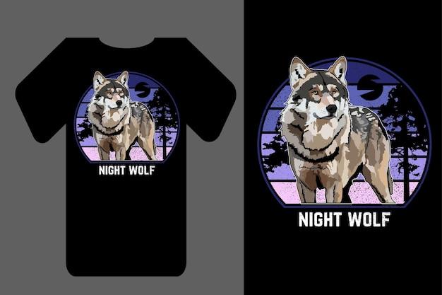 Mockup t-shirt silhouette notte lupo retrò vintage