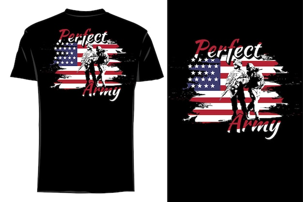 Mockup t-shirt silhouette perfetto esercito retrò vintage