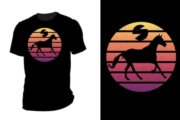 Mockup t-shirt silhouette corsa cavallo retrò vintage