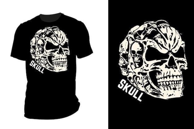 Mockup t-shirt silhouette teschio retrò vintage