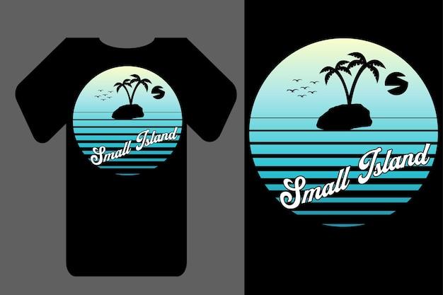 Mockup t-shirt silhouette piccola isola retrò vintage