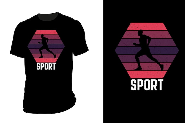 Mockup t-shirt silhouette sport retrò vintage