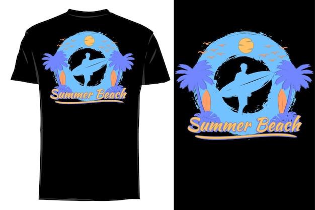 Mockup t-shirt sagoma estate spiaggia retrò disegnata a mano