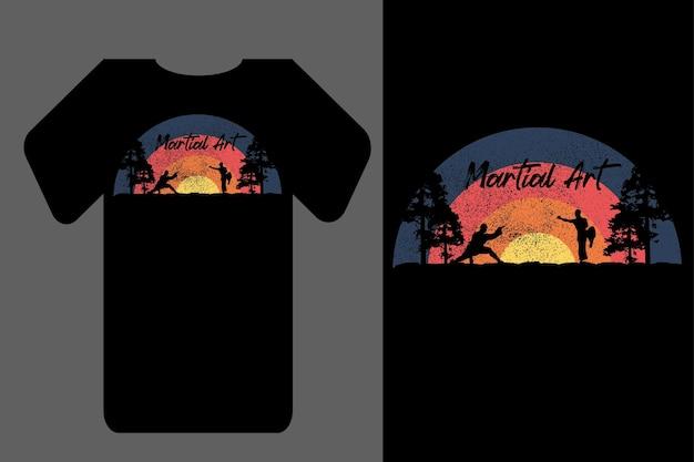 Mockup t-shirt silhouette tramonto arte marziale retrò vintage