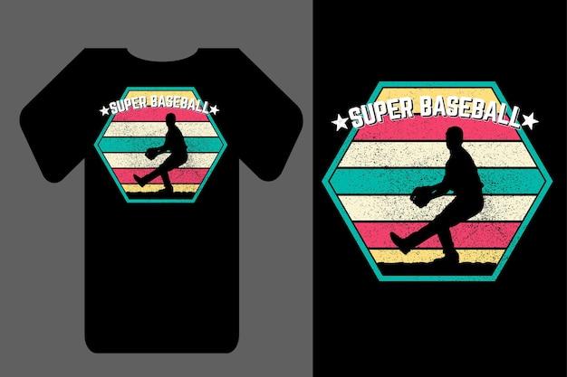 Mockup t-shirt silhouette super baseball retrò vintage