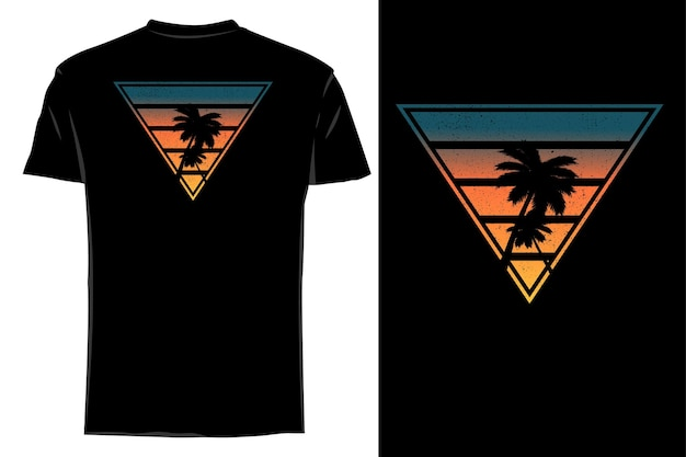 Mockup t-shirt silhouette doppia palma retrò vintage