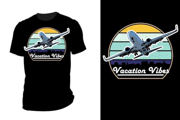 Mockup t-shirt silhouette vacanza vibes retrò vintage