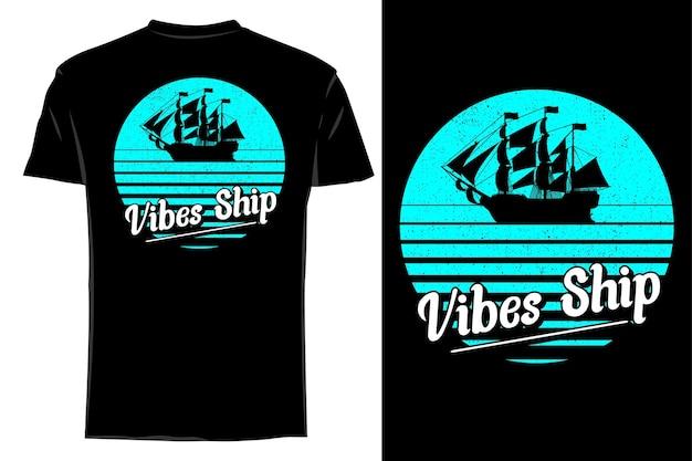 Mockup t-shirt silhouette vibrazioni nave retrò vintage