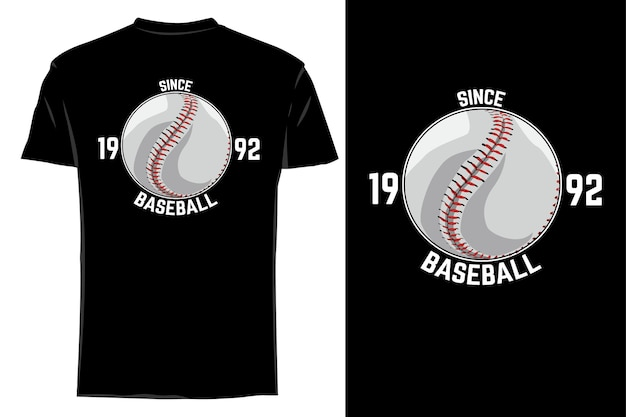 Mockup t-shirt vettore palla da baseball retrò vintage