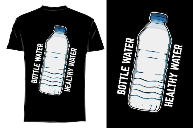 Mockup t-shirt vettore bottiglia retrò vintage