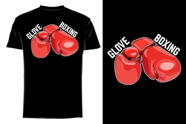 Mockup t-shirt vettore guanto rosso boxe retrò vintage