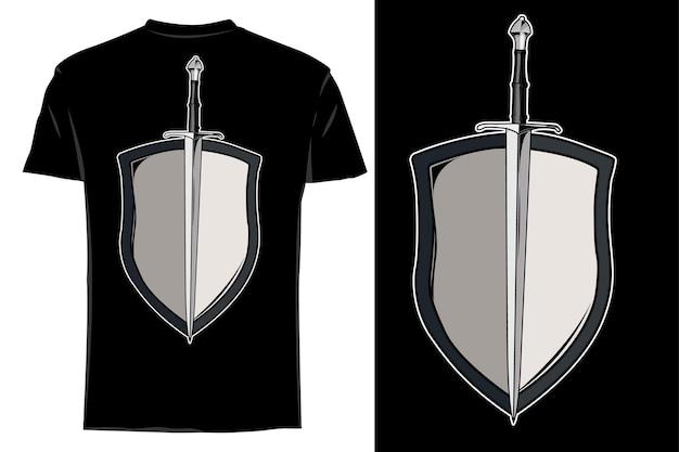 Mockup t-shirt vettore spada e scudo retrò vintage