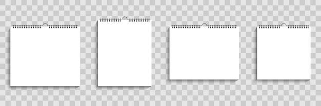 Calendario da parete mockup. calendario vuoto a spirale. calendario mockup realistico con ombra. illustrazione vettoriale