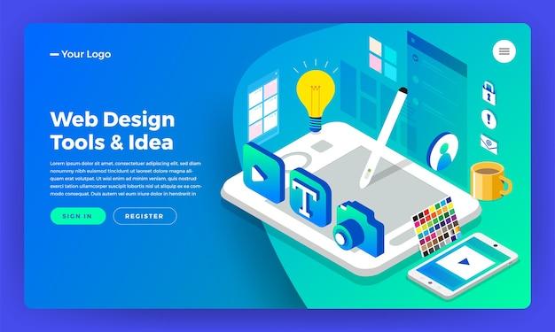Web designer di concept design piatto isometrico della pagina di destinazione del sito web di mockup