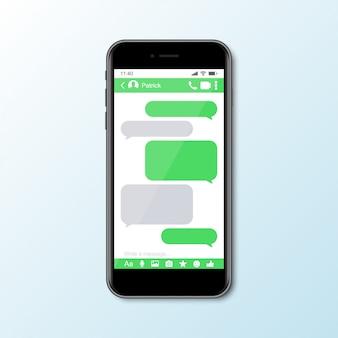 Mockup con smartphone con finestra messenger per social media