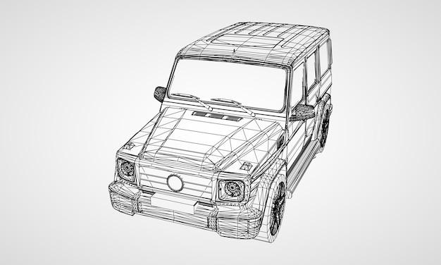 Modello di suv con telaio premium dal design classico. illustrazione vettoriale di una griglia triangolare poligono nero su sfondo grigio.