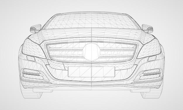 Il modello sfoggia una berlina premium. illustrazione vettoriale sotto forma di una griglia triangolare poligonale nera su sfondo grigio.
