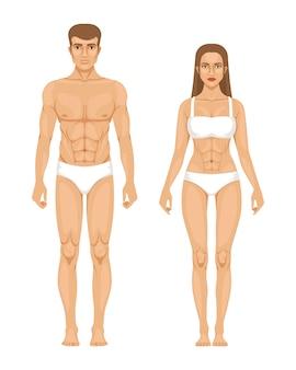 Modello di uomo sportivo e donna in piedi vista frontale
