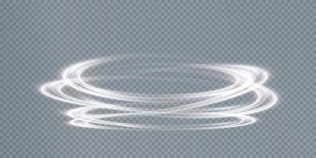 Modellazione di linee di luce della scia luminosa dall'anello di illuminazione del podio per la pubblicità