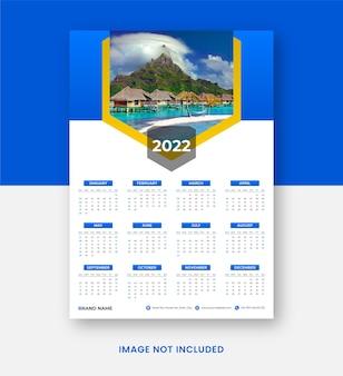Modello di stampa del design moderno del calendario da parete 2022