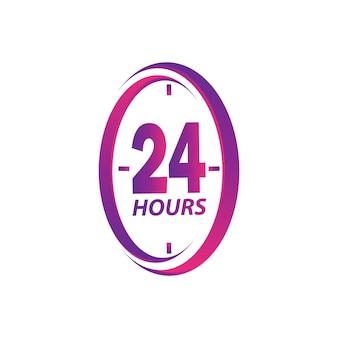 Vettore moderno di progettazione del modello dell'illustrazione del logo del segno di servizio 24 ore su 24 in fondo bianco isolato