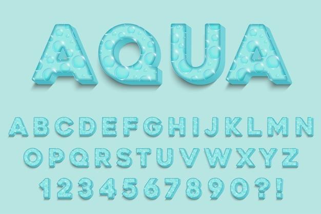 Lettere, numeri e simboli dell'alfabeto moderno aqua 3d. tipografia fresca. vettore
