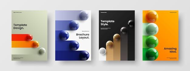 Composizione del layout della copertina aziendale delle palle 3d moderne
