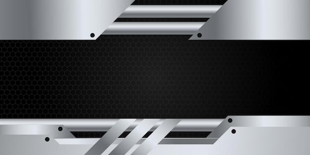 Moderno 3d nero e argento astratto sfondo metallico con luce brillante e decorazione del modello di trama.