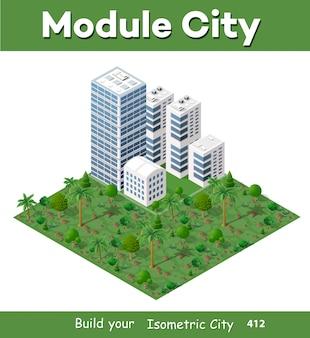 Città 3d moderna isometrica