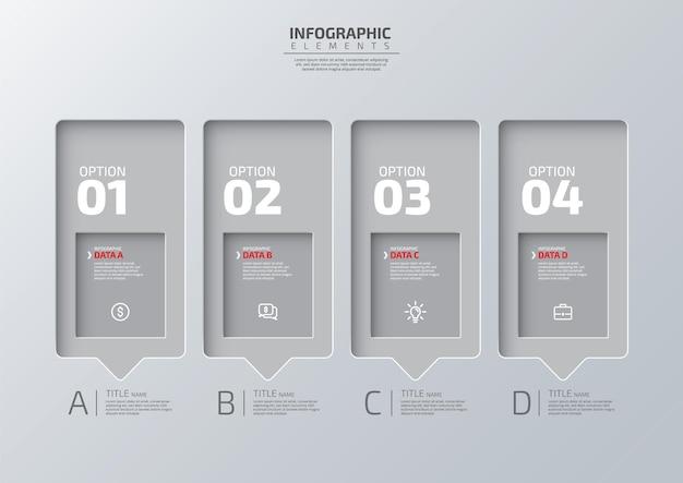 Modello moderno di progettazione infografica di business creativo 3d con 4 passaggi per il successo