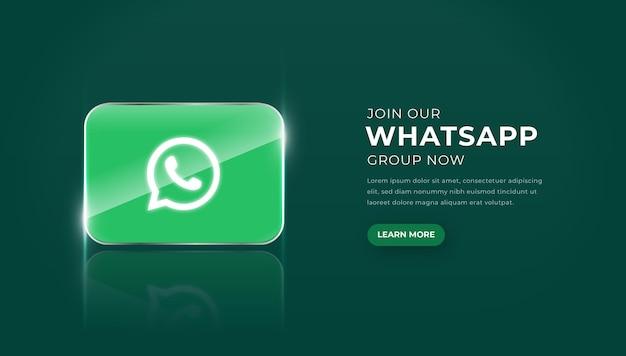 Icona moderna di whatsapp di vetro 3d con il vettore premium del pulsante di iscrizione al gruppo
