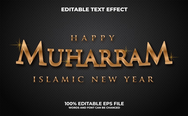 Effetto di testo modificabile moderno 3d happy muharram vettore premium