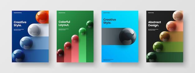 Pacchetto di illustrazioni di cartoline di sfere 3d moderne