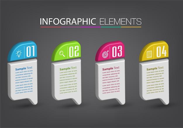 Moderno modello di casella di testo 3d, banner infografica