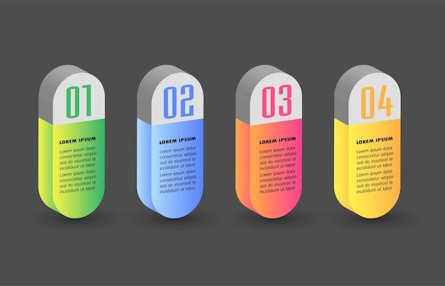 Moderno modello di casella di testo 3d infographics