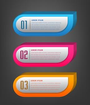 Modello di casella di testo 3d moderno, infografica