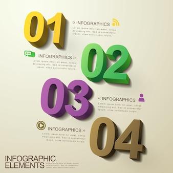 Modello di elementi infografici numero 3d astratto moderno