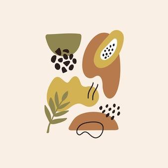 Moderno sfondo estetico astratto con linee geometriche di forme di equilibrio foglie e papaya