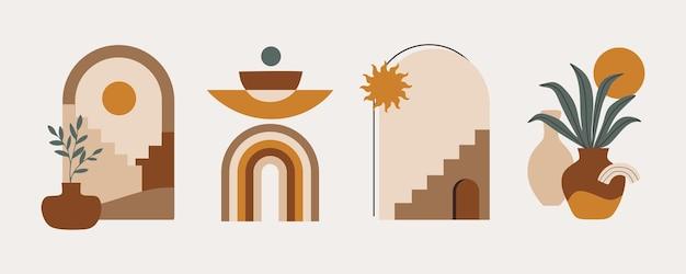 Moderno set estetico astratto di forme di equilibrio geometrico scale e piante decorazioni per pareti boho