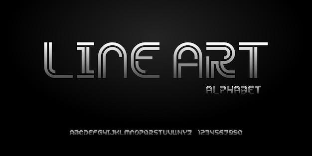 Fonte di alfabeto astratto moderno. caratteri tipografici in stile urbano per tecnologia, digitale, film, design del logo