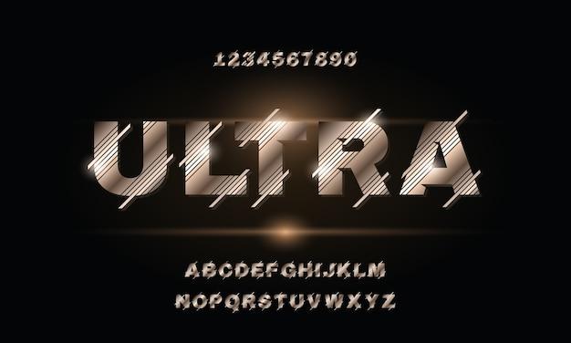 Fonte di alfabeto astratto moderno. caratteri tipografici in stile urbano per tecnologia, digitale, design del logo del film