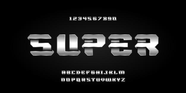 Caratteri di stile urbano di tipografia dei caratteri di alfabeto astratto moderno per la progettazione di logo di film digitale di tecnologia